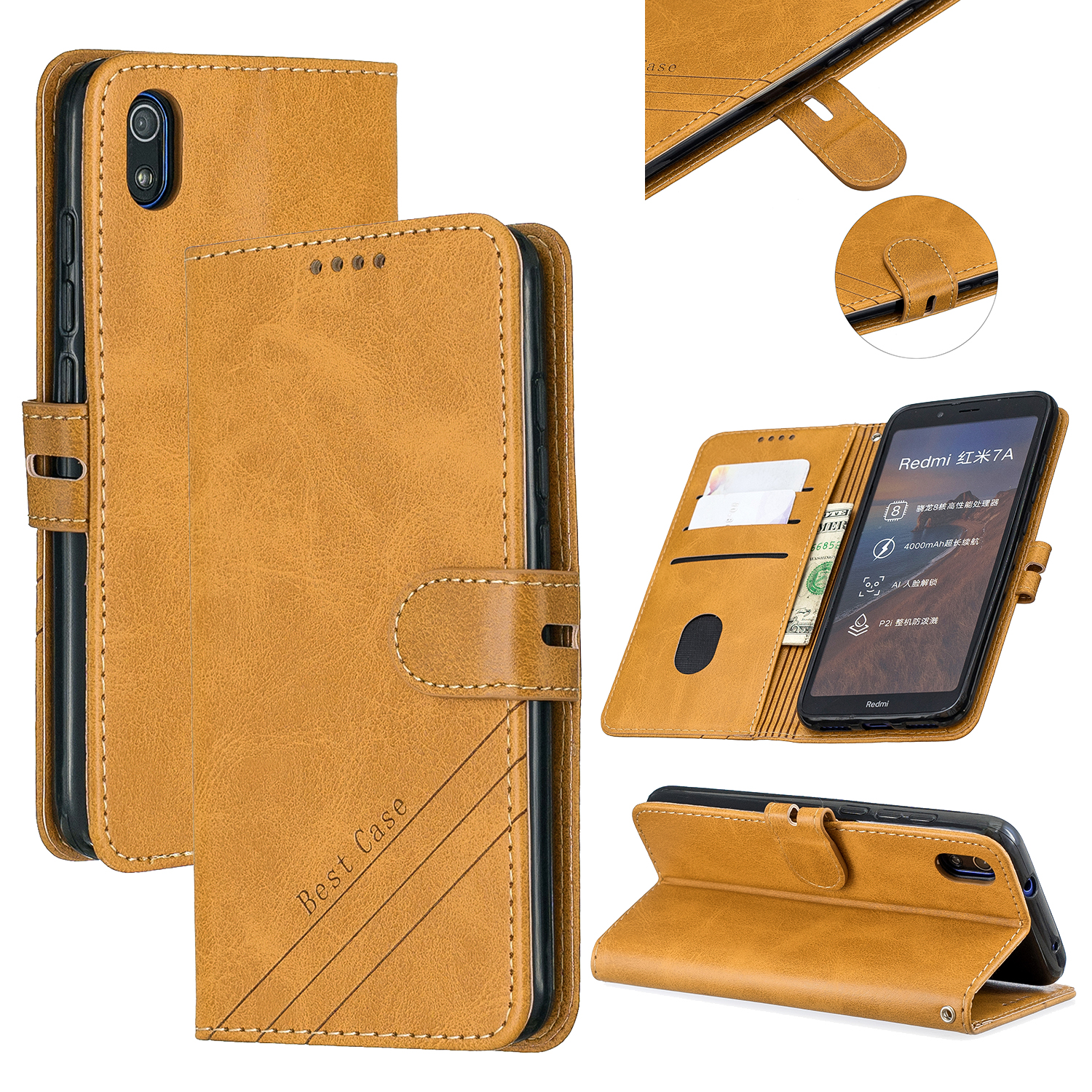 For Redmi 7A Denim Pattern Solid Color Flip Wallet PU Leather Protective Phone Case with Buckle & Bracket yellow