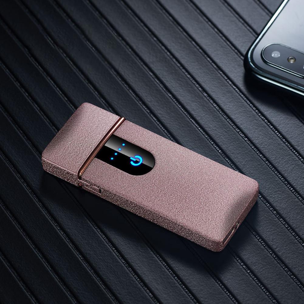 Ultra-thin Touch Sensor Cigarette Lighter USB Rechargeable Metal Lighters Flameless Lighters Pink matte_CW006