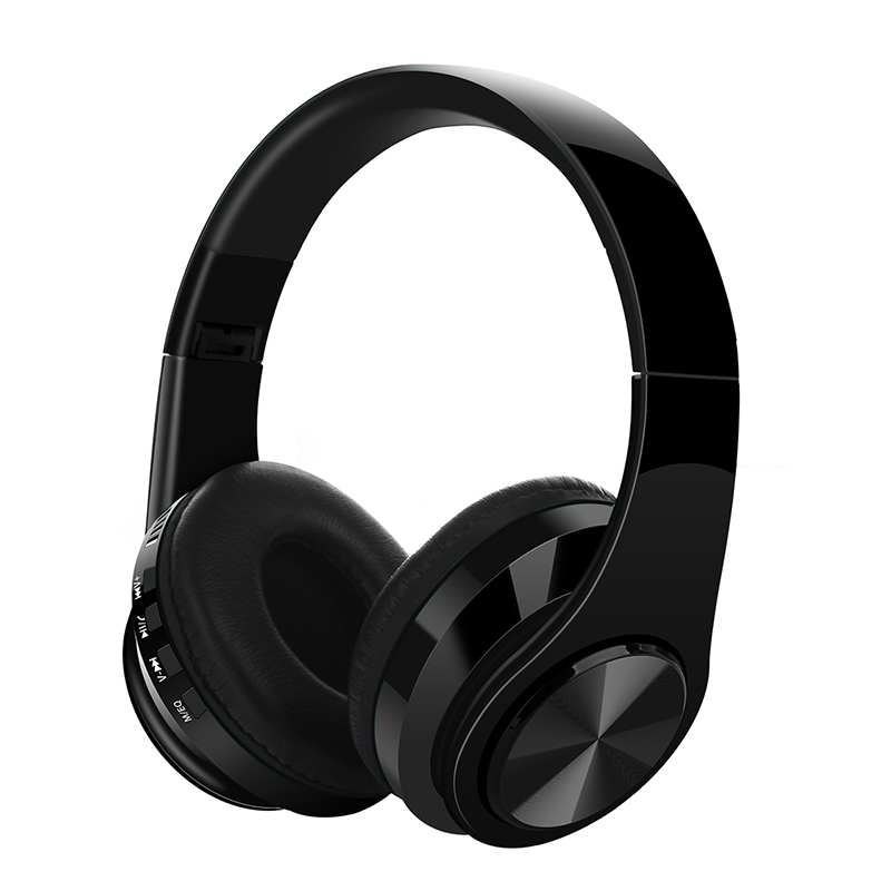Bluetooth V5.0 Headset Sports Folding Support For Plug-in Card Head-mounted Wireless Headphone black