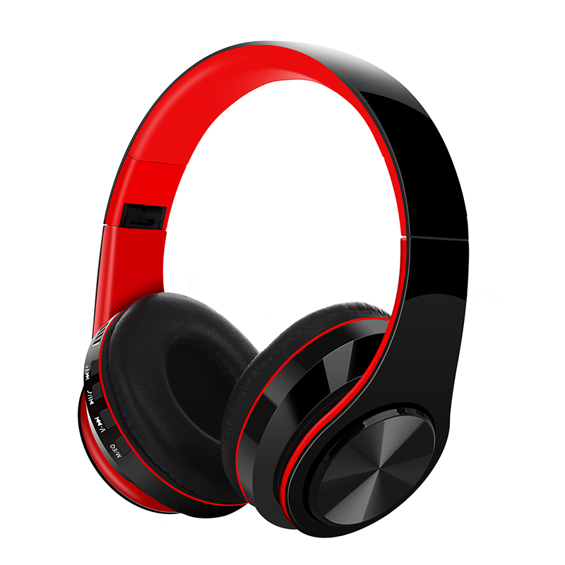 Bluetooth V5.0 Headset Sports Folding Support For Plug-in Card Head-mounted Wireless Headphone red