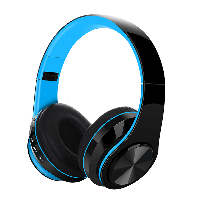 Bluetooth V5.0 Headset Sports Folding Support For Plug-in Card Head-mounted Wireless Headphone blue