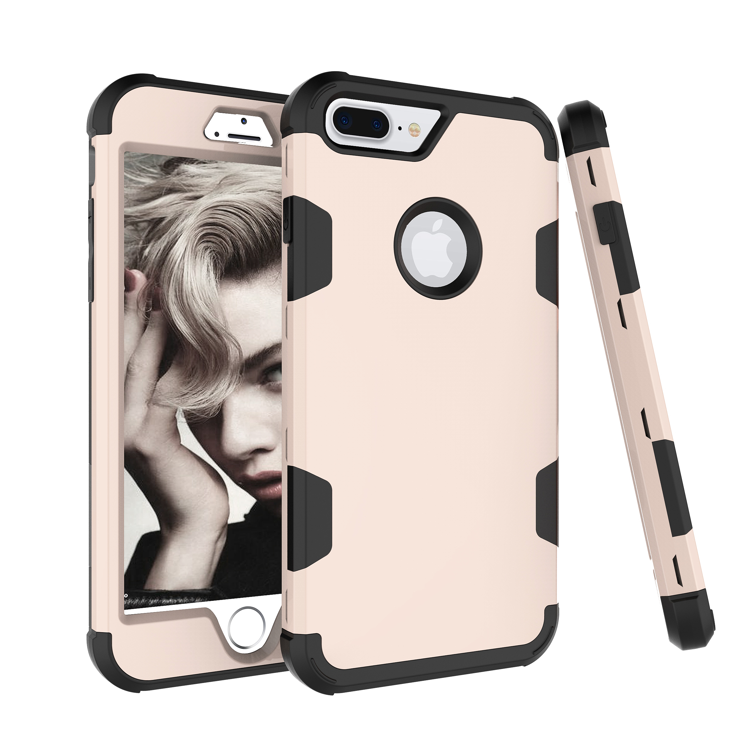 For iPhone 7 plus PC+ Silicone 2 in 1 Hit Color Tri-proof Shockproof Dustproof Anti-fall Protective Cover Back Case Gold + black