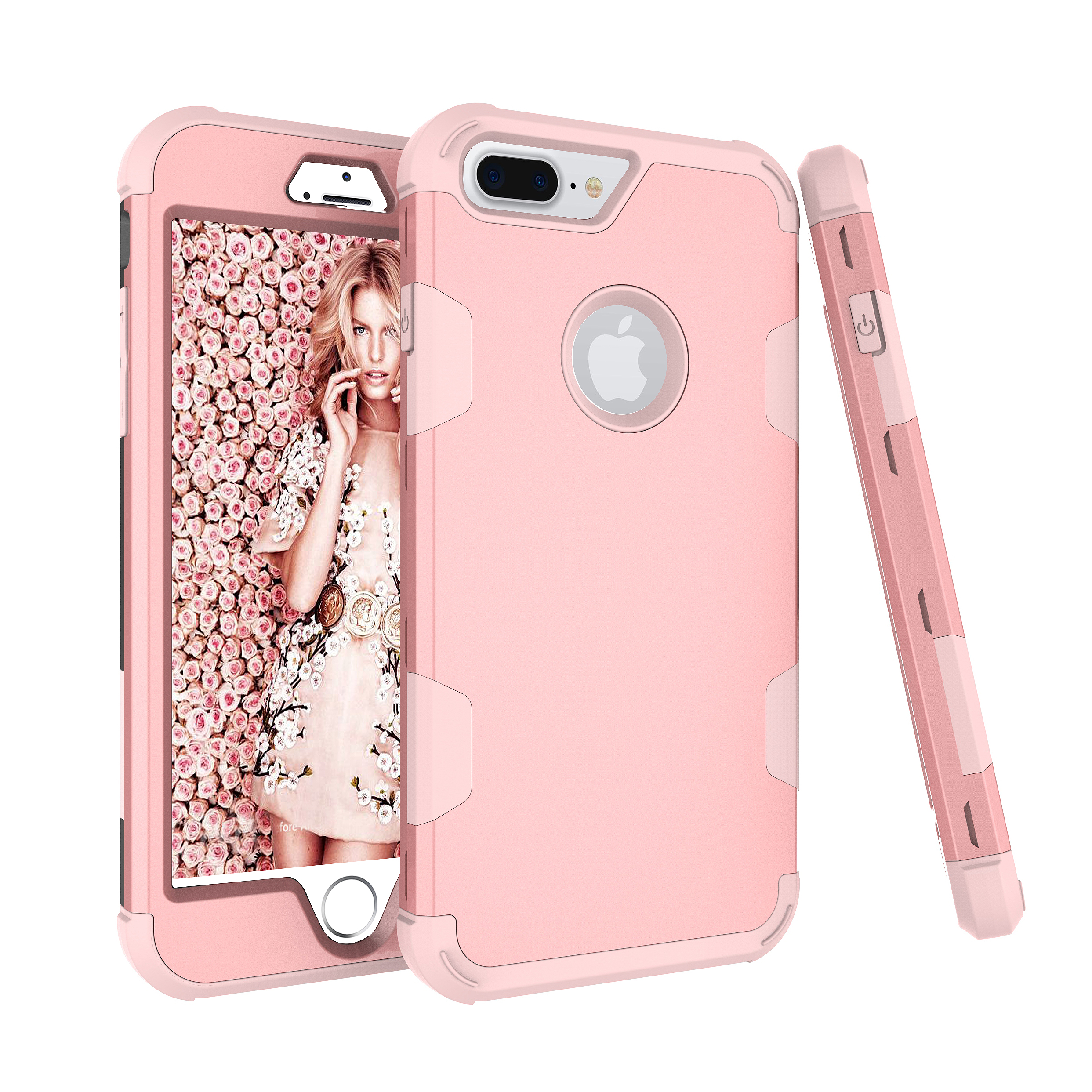 For iPhone 7 plus PC+ Silicone 2 in 1 Hit Color Tri-proof Shockproof Dustproof Anti-fall Protective Cover Back Case Rose gold