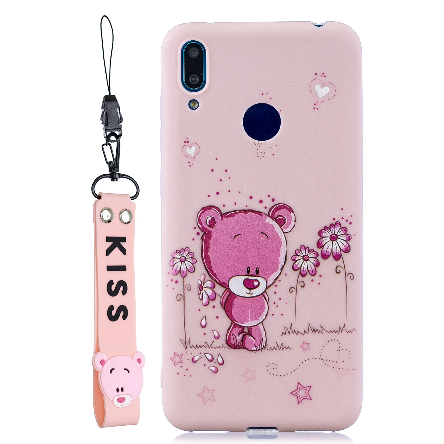 For HUAWEI Y7 2019 Cute Coloured Painted TPU Anti-scratch Non-slip Protective Cover Back Case with Lanyard Light pink