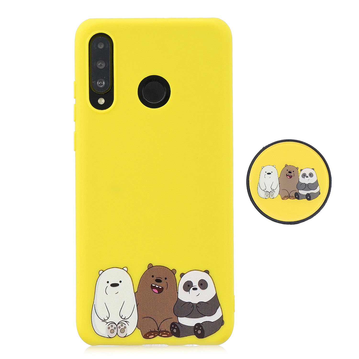 For HUAWEI P30 lite Cute Cartoon Phone Case Ultra Thin Lightweight Soft TPU Phone Case Pure Color Phone Cover with Matching Pattern Adjustable Bracket 7