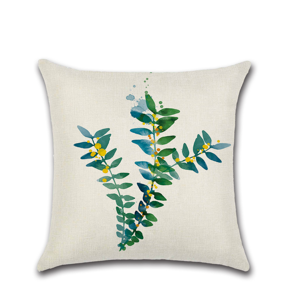 Green Tropical Plant Leaf Printing Throw Pillow Cover without Filling Green leaves -304_45*45cm
