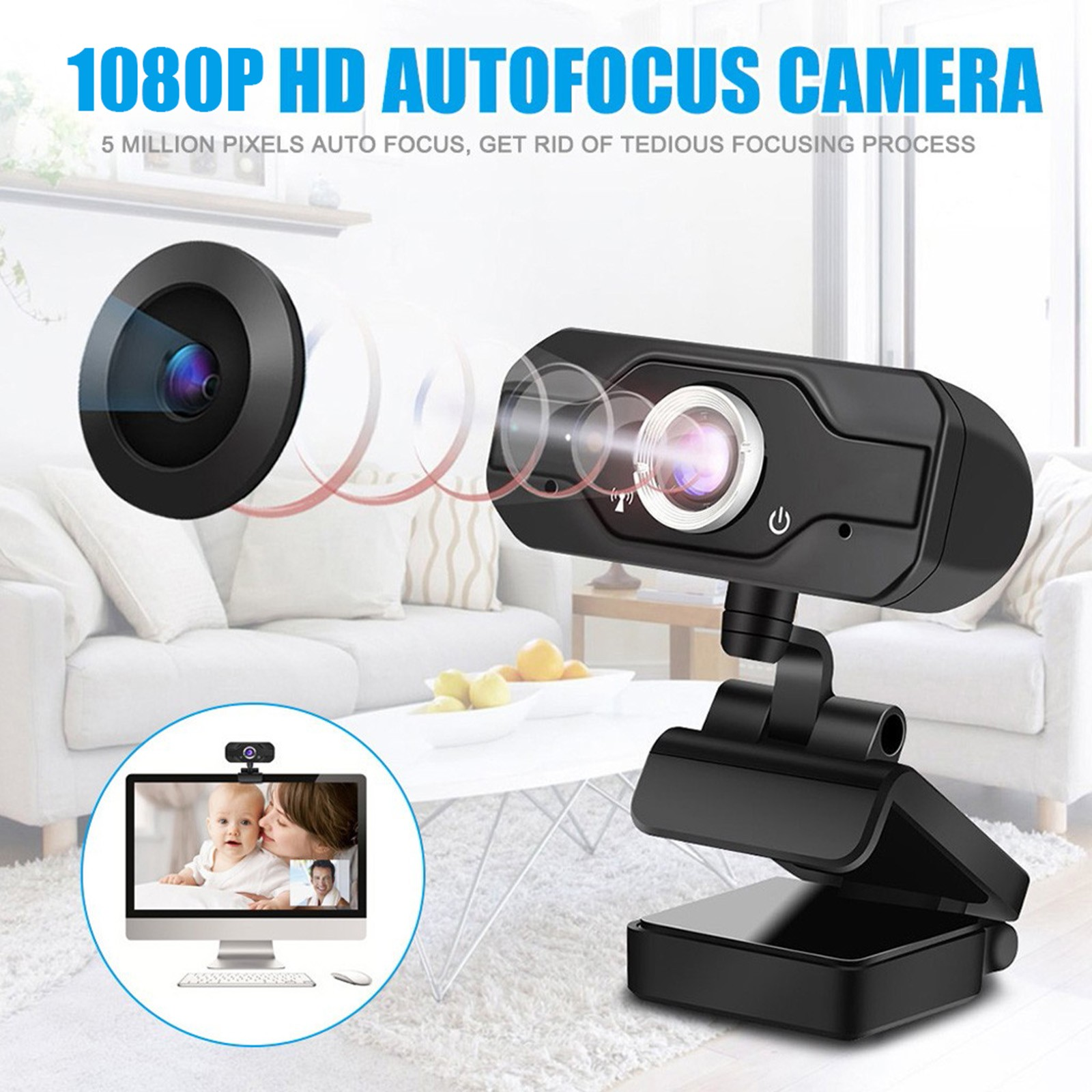 Full Hd 1080p 5 Million Pixel Camera Portable Rotation Angle Adjustable Camera Built-in Mic black