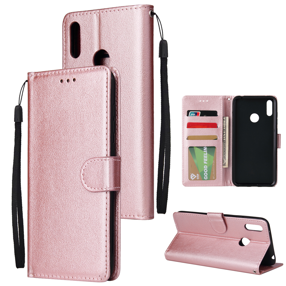 For HUAWEI Enjoy 9/ Y7 2019 /Y7 PRO 2019/Y7 PRIME 2019 Flip-type Leather Protective Phone Case with 3 Card Position Buckle Design Phone Cover  Rose gold