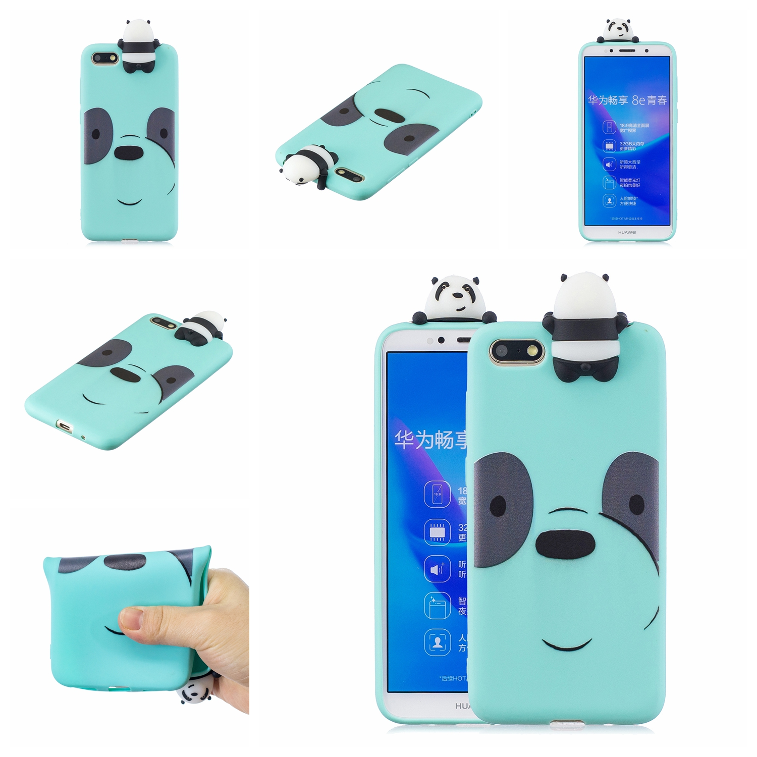For HUAWEI Y5 2018 3D Cute Coloured Painted Animal TPU Anti-scratch Non-slip Protective Cover Back Case Light blue