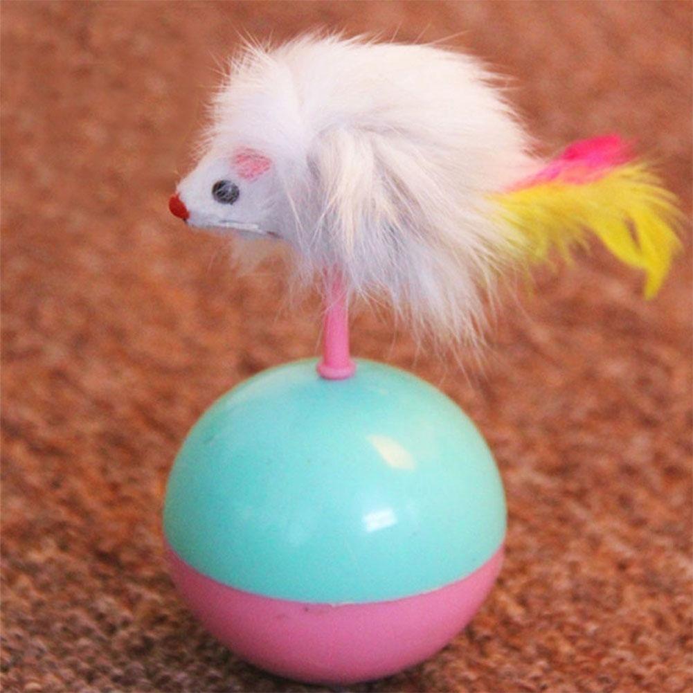 Plush Mouse Shape Tumbler Ball Play Toy Interative Tumbler Fun Toy for Cats Kitten  Random