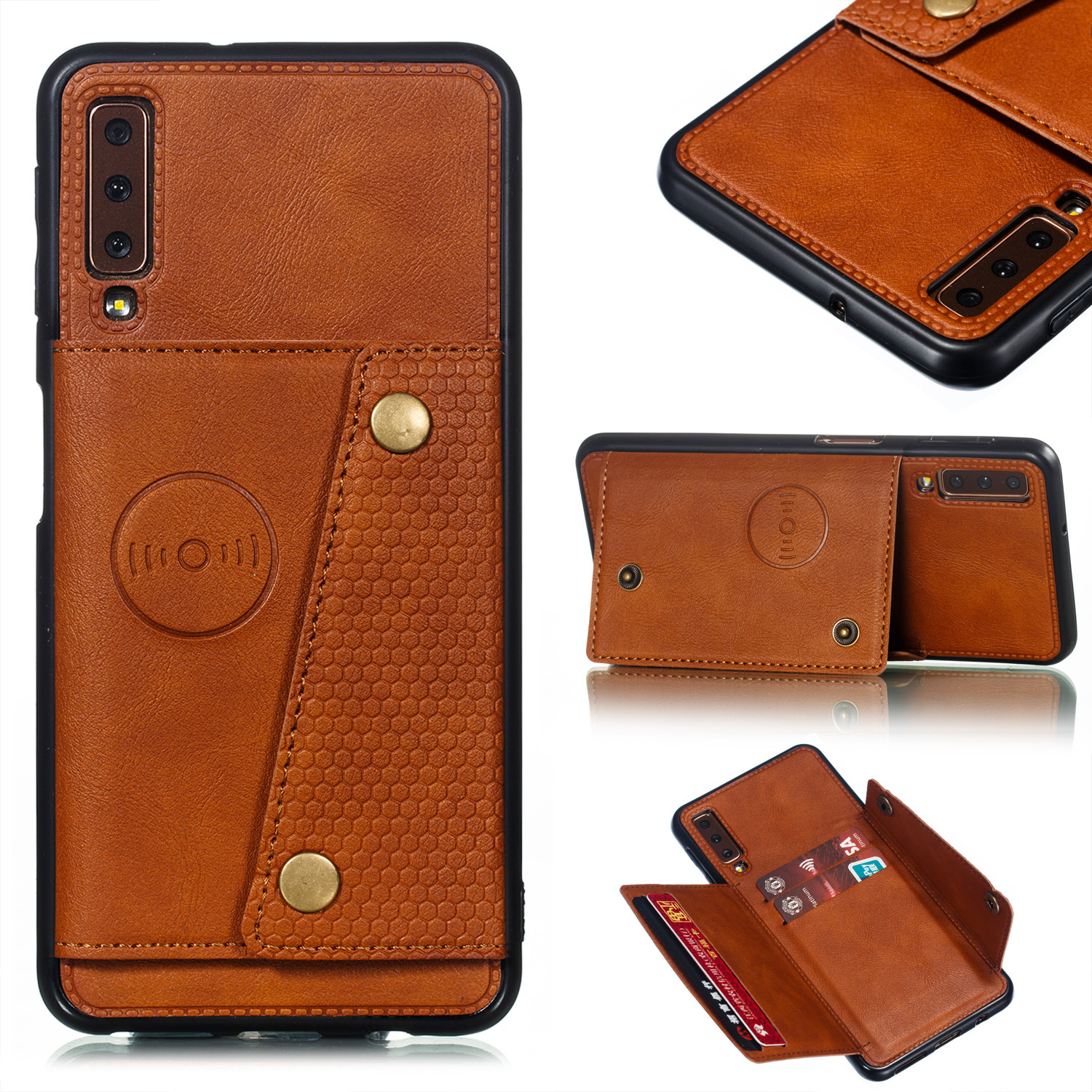 For Samsung A750/A7 2018 Double Buckle Non-slip Shockproof Cell Phone Case with Card Slot Bracket Light Brown