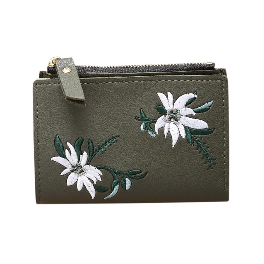 Ladies Mini Folding Purse Embroidered Flower Pattern Zipper Wallet Card Holder Dark green