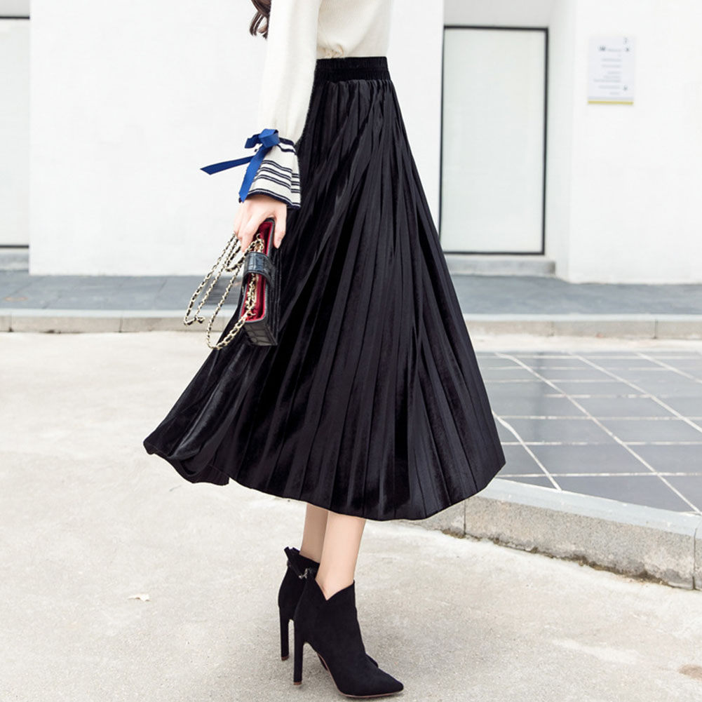 Women Fashion Gold Velvet High Waist Pleated A-line Skirt