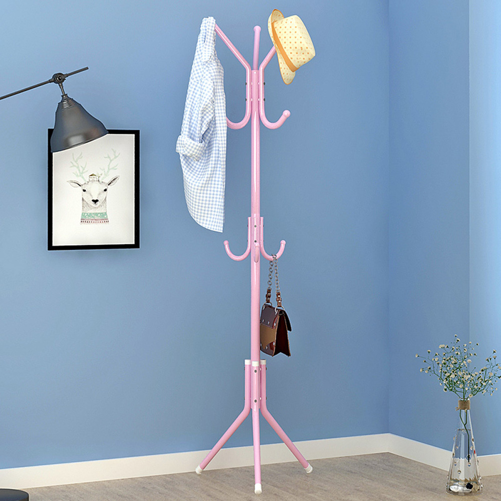 Metal Coat Rack Assembled Living Room Hat Clothing Display Stand Home Furniture 43*43*172cm pink_HBY906S