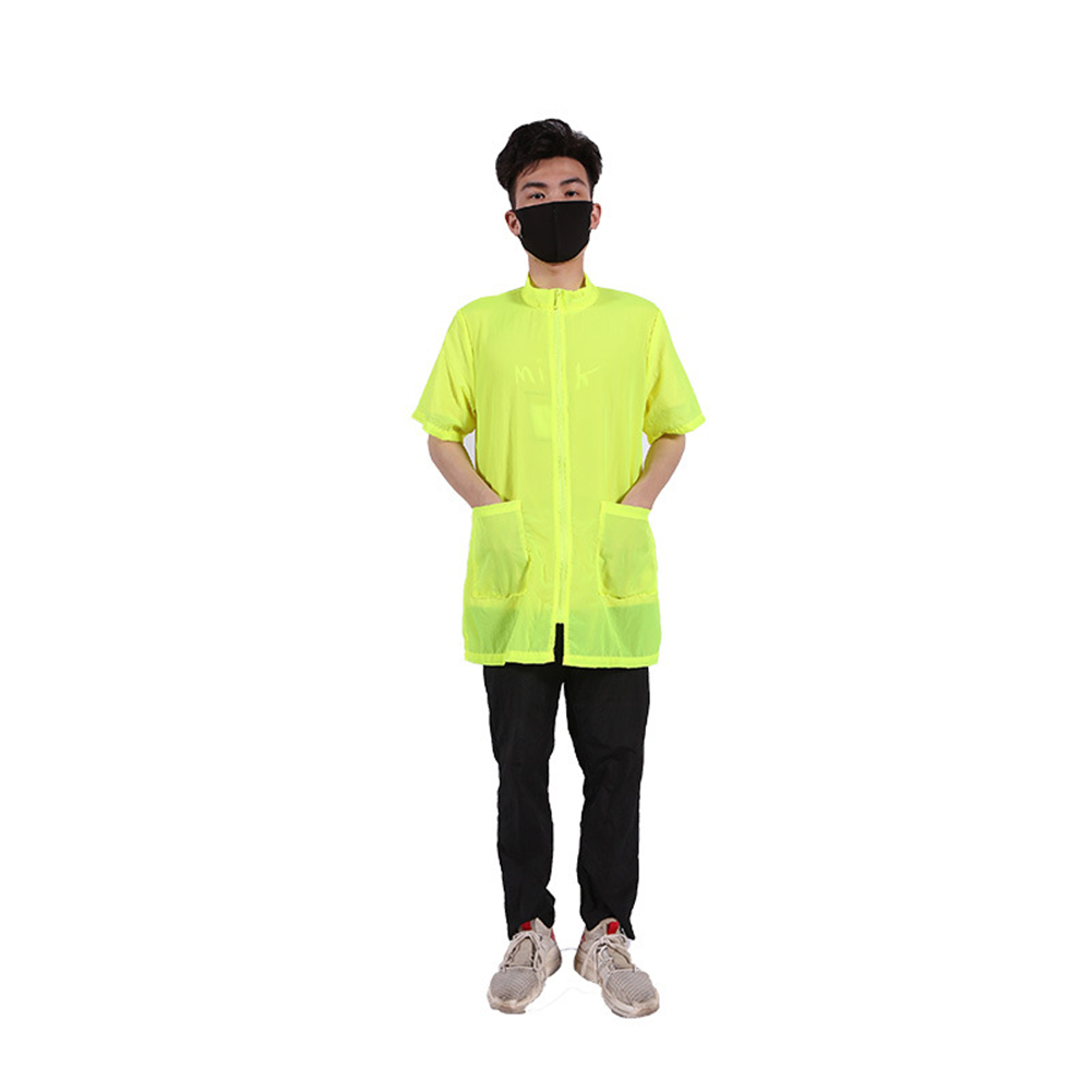 Waterproof Anti-static Not Sticking Hair Shirt Pet Grooming Bath Half-sleeves Apron with Pocket for Dog Cat Cleaning Hair Triming L_fluorescent yellow