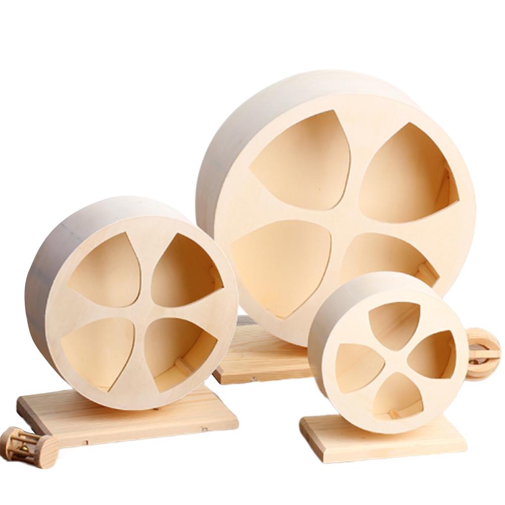 Wooden Silent Pet Exercise Running Wheel Toy for Golden Hamster Hedgehog Chinchilla Medium