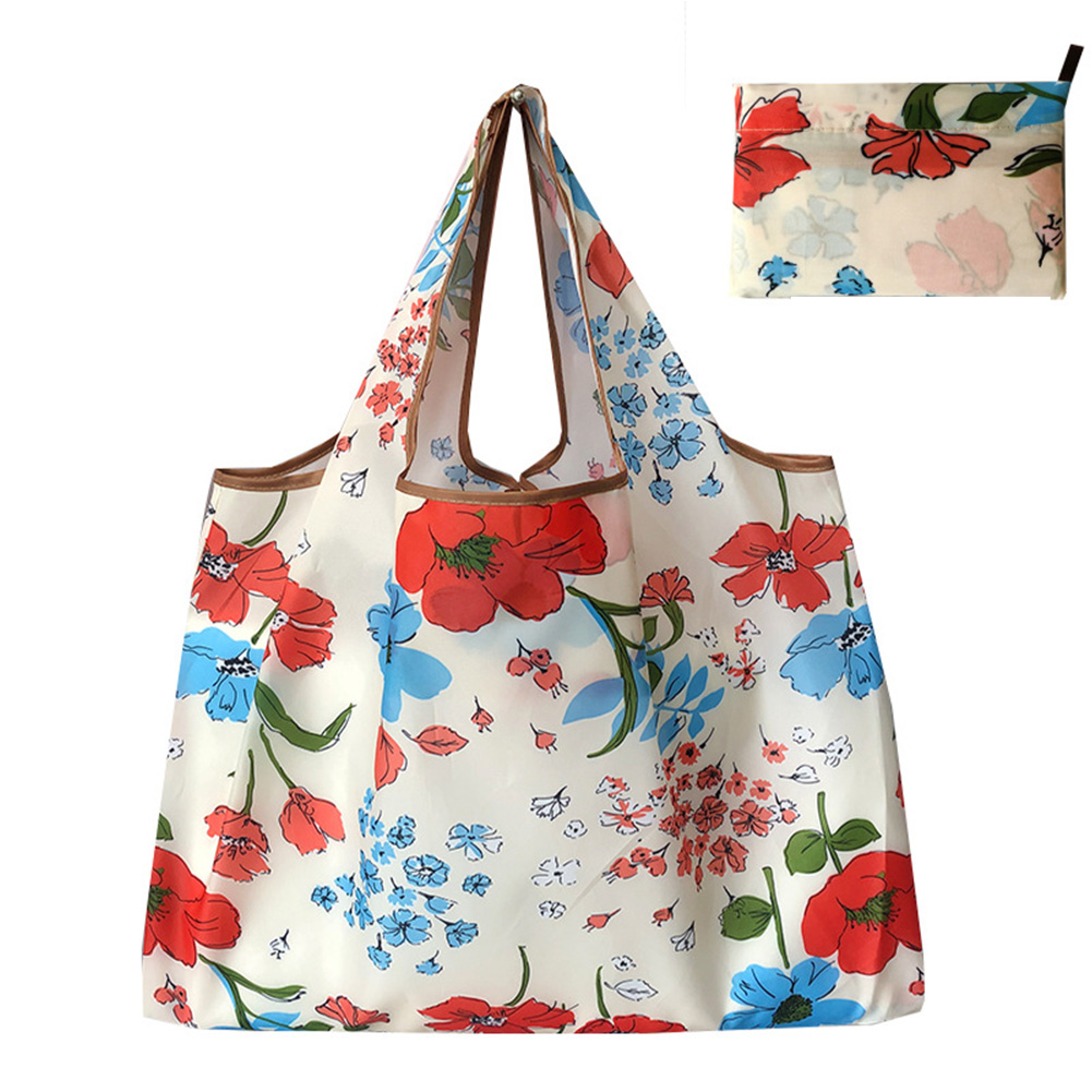 Reusable Foldable Shopping Bags Large Size Tote Bag with Handle Ink flower 141_XL