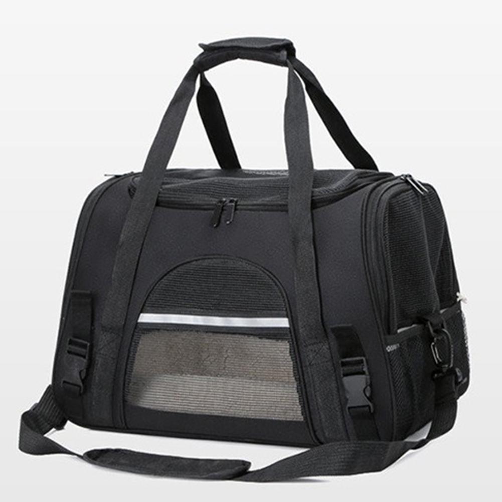 Portable Pet Bag Outgoing Travel Breathable Pets Cage Handbag with Top Window Mesh black