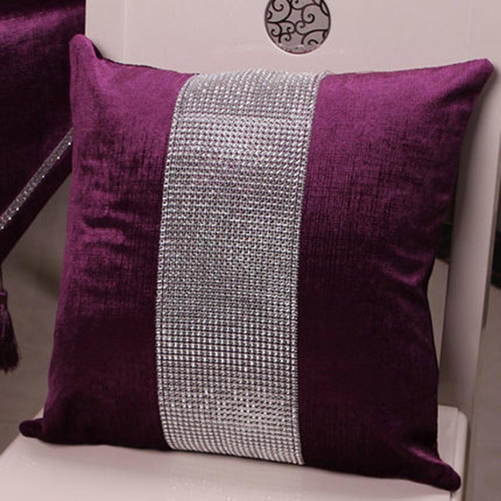 Stylish Graceful Velvet Throw Pillow with Diamond Chain Soft Sofa Cushion Decoration Modern Pillowcase purple_45 * 45cm