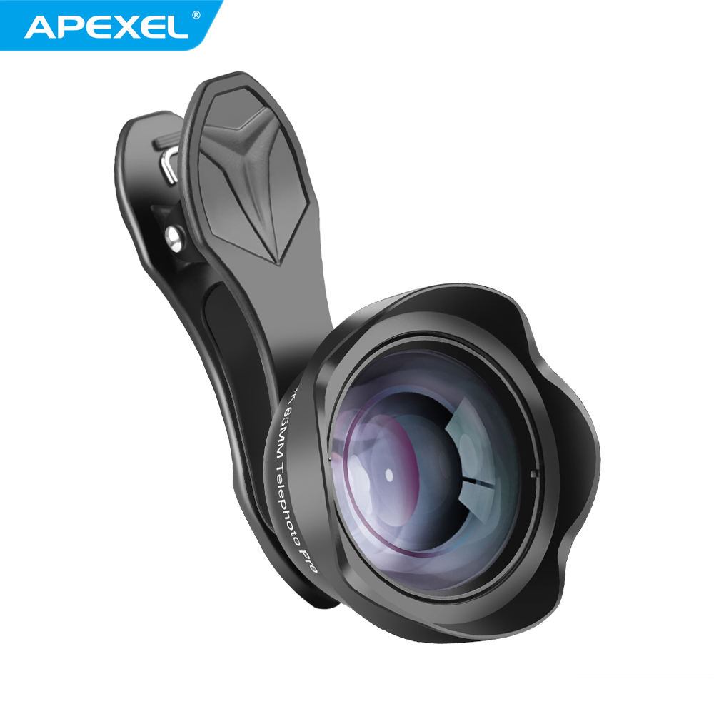 APEXEL 65MM Portrait Lens 3X HD Professional Mobile Phone Camera Lens for iPhone Samsung Android Smartphone black