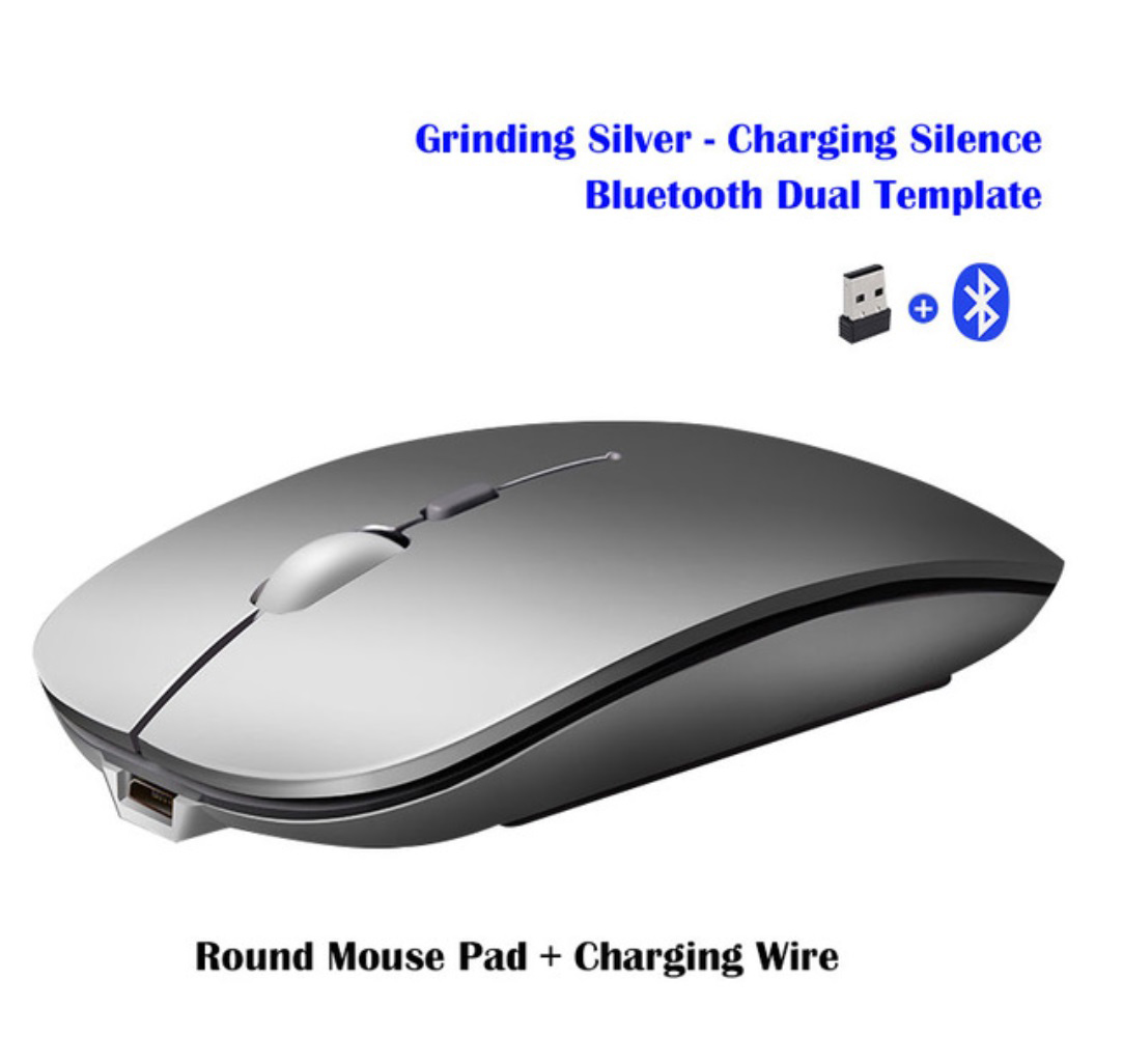 Wireless Mouse Rechargeable Wireless Bluetooth Dual-mode Mouse Laptop Games Ultra-thin Silent Mouse Silver wireless + Bluetooth version