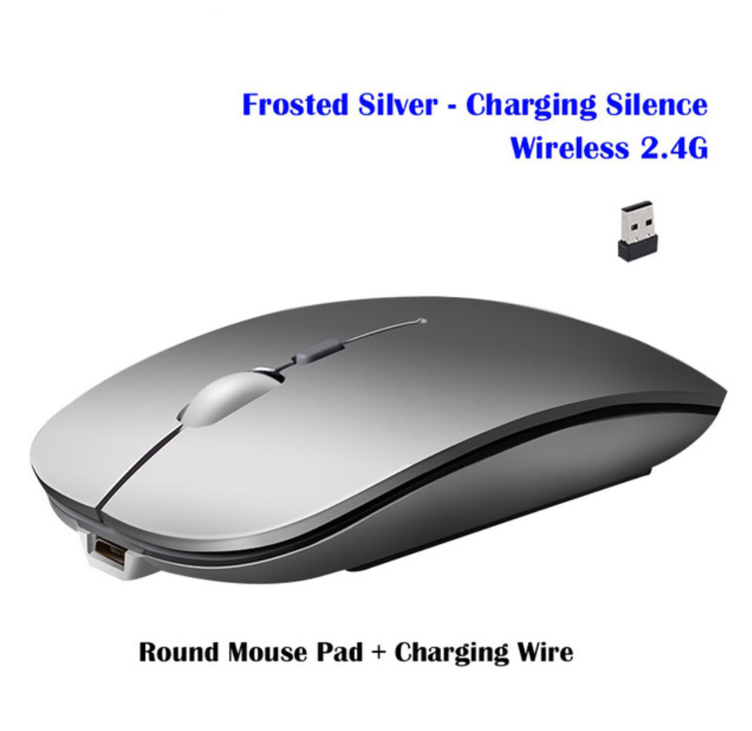 Wireless Mouse Rechargeable Wireless Bluetooth Dual-mode Mouse Laptop Games Ultra-thin Silent Mouse Silver wireless version