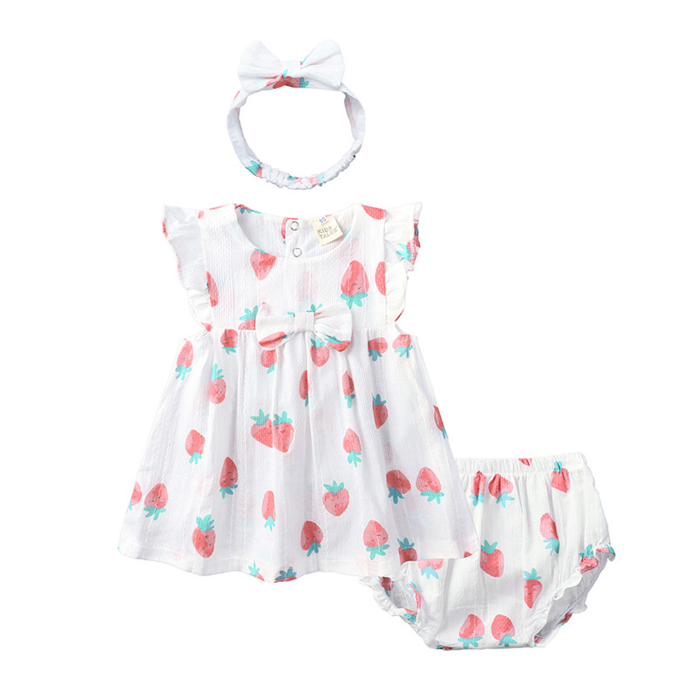 Infant Baby Toddler Sweet Strawberry Round Neck Short Sleeve Princess Dress+Shorts+Headband Three Piece Suit Outfit QZ4058W strawberry_90