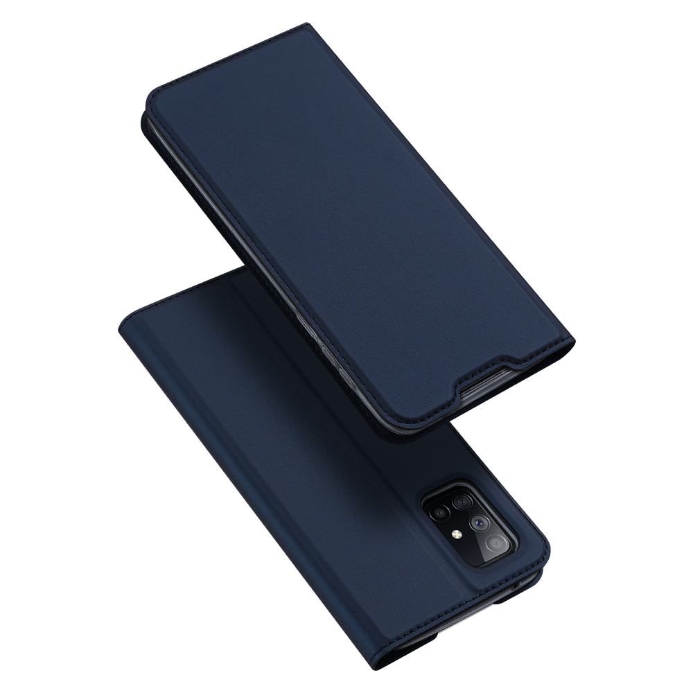 DUX DUCIS For Samsung A71 5G Leather Mobile Phone Cover Magnetic Protective Case Bracket with Cards Slot Royal blue