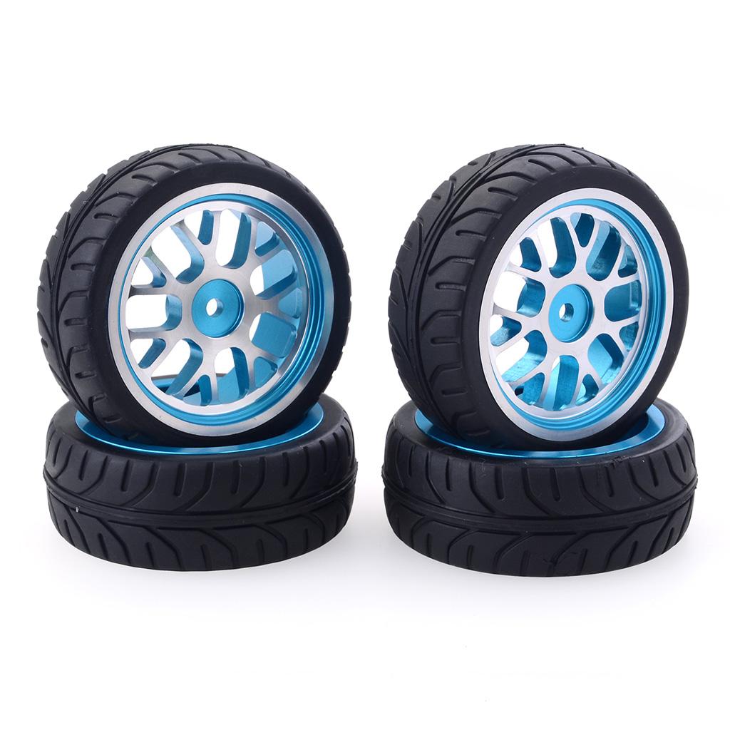 4PCS/Set RC Car Tire Aluminum Alloy CNC Wheel  Curved blue