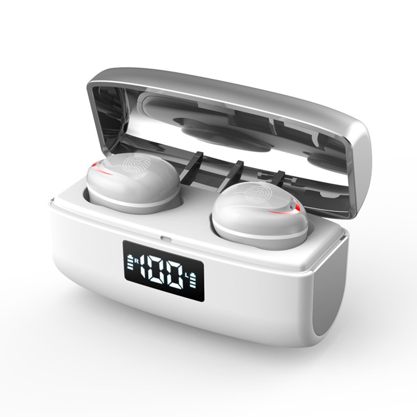 Tws Bluetooth  Headset Binaural Digital Display Touch Noise Reduction Mini Wireless Headphone Silver white