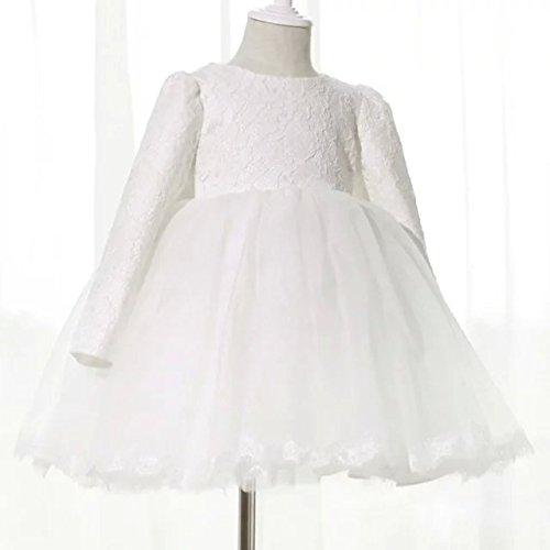 Children's dresses Girls'dresses Children's dresses Long-sleeved girls' dresses Girls' formal wedding recital White 110cm