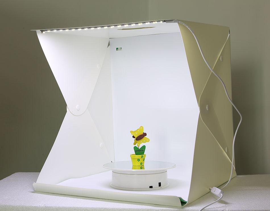 LED Folding Lightbox Photo Studio LED Desktop Studio Portable Photography Lightbox Button type