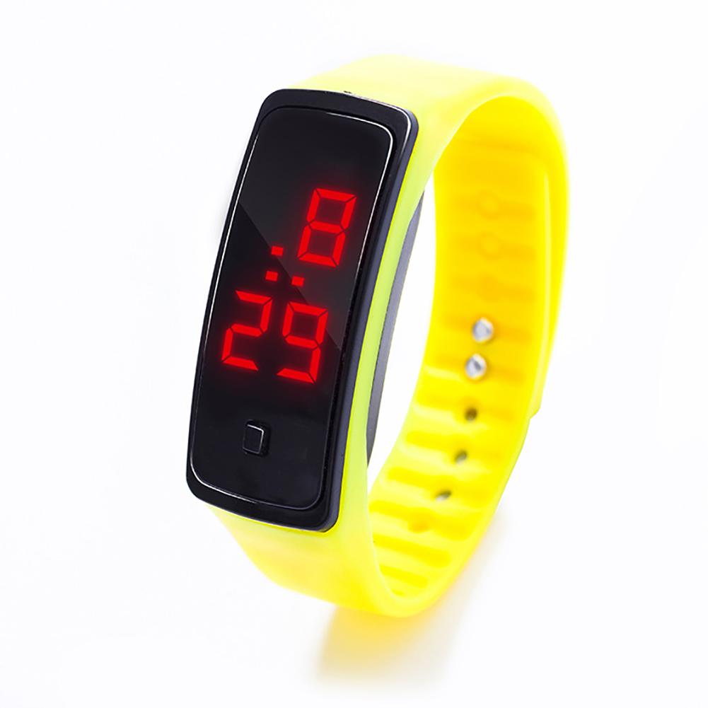 LED Digital Display Bracelet Watch Children's Students Silica Gel Sports Watch yellow