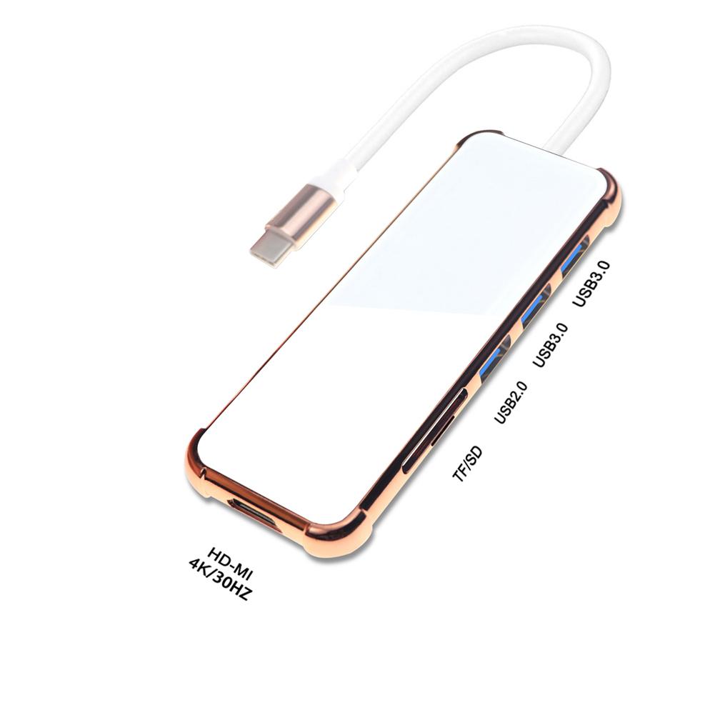 Usb  C Hub Hdmi-compatible Adapter 4k 30hz 6 In 1 Type C Hub Sd Tf Card  Reader Golden