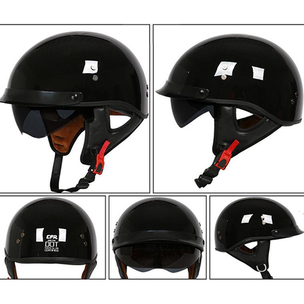 Retro Helemt Half Face Motorcylce Hat FRP Prince Helmet Bright black XL