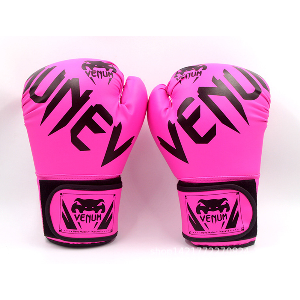 Men Women Kids PU Leather Kick Boxing Gloves Thai Boxing Sports Hands Protector Rose pink_One size M