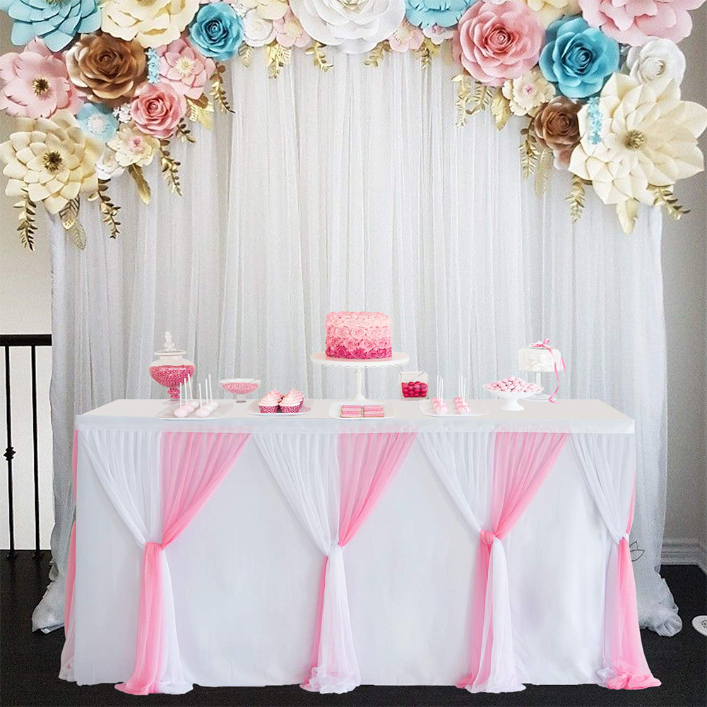 Stripe Style Table Skirt for Round Rectangle Table Baby Showers Birthday Party Wedding Decor White pink_L6(ft)*H30in