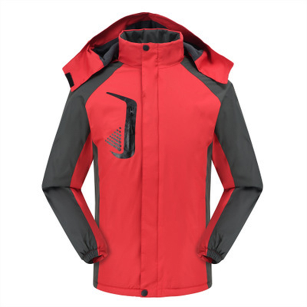 Men's and Women's Jackets Winter Velvet Thickening Windproof and Rainproof Mountaineering Clothes red_M