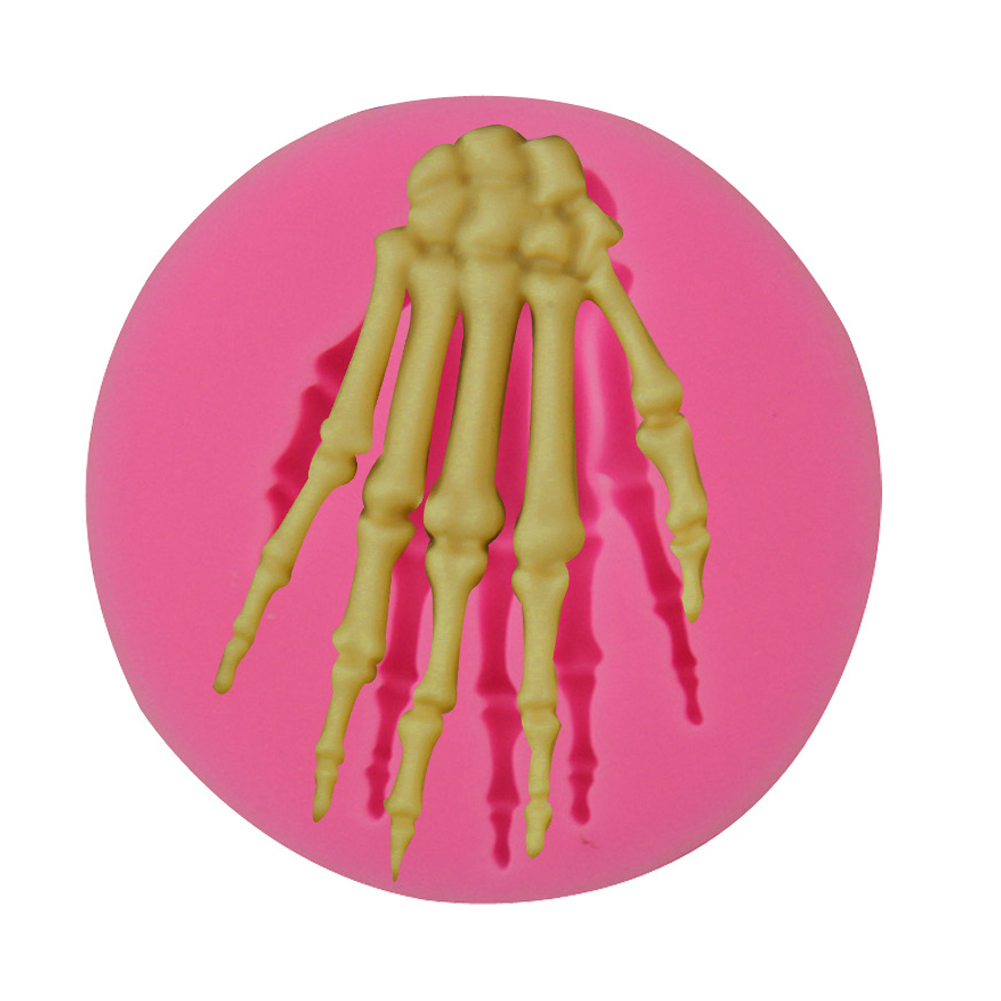 Halloween Skeleton Hand Terror Mould Liquid Silica Gel Tool for Fondant Cake 5.7*5.7*0.9CM