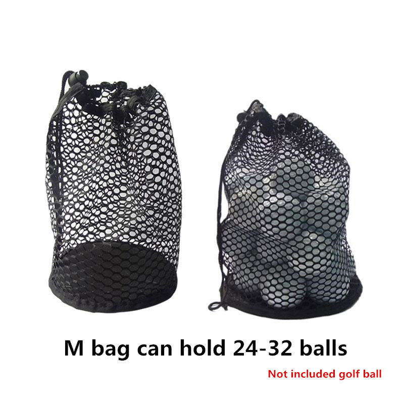 Sports Mesh Net Bag Black Nylon golf bags Golf Tennis 16/32/56 Ball Carrying Drawstring Pouch Storage bag Medium size can hold 24-32 balls / price does not include balls