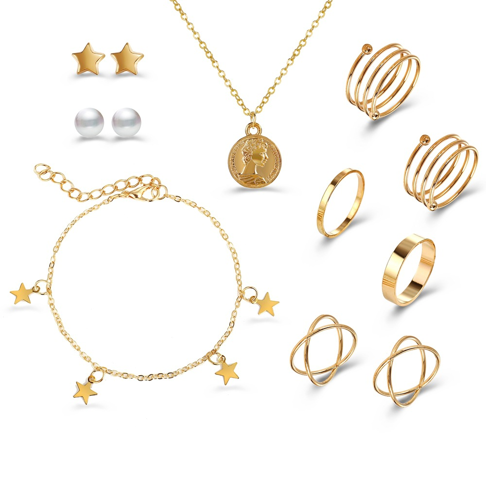 10 Pcs/set Alloy Necklace + Pentagonal Star Bracelet + Multi-layer Ring