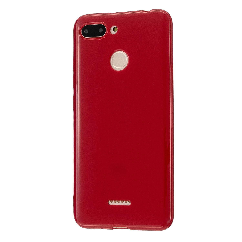 For Redmi 6/6A/6 Pro Cellphone Case Simple Profile Soft TPU Ultra Light Anti-Scratch Phone Cover Rose red