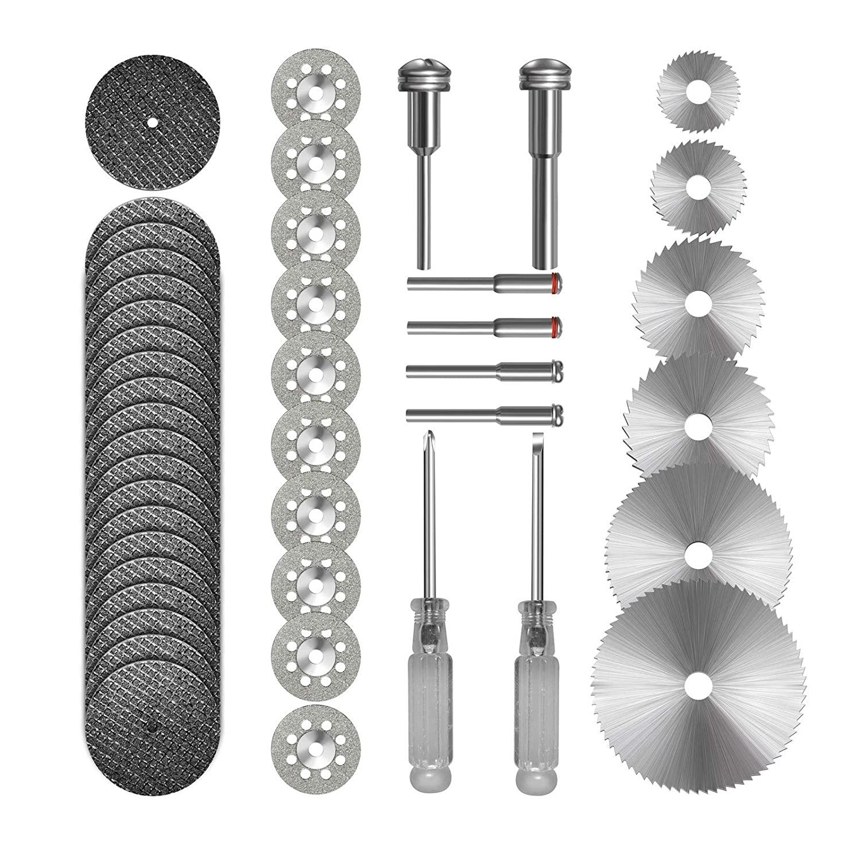 44pcs Diamond  Cutting  Wheel Set Hss Circular Saw Blade+ Resin Cutting Disc With 2 Screwdrivers Silver