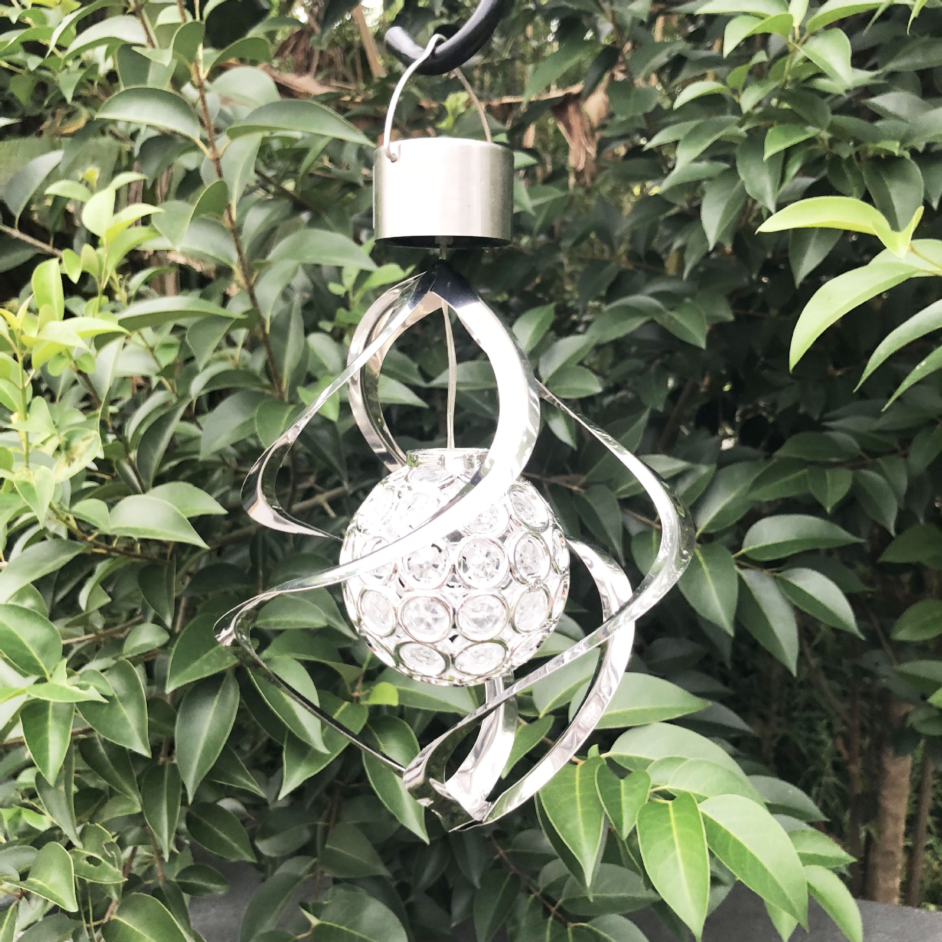 LED Stainless Steel Solar Powered Hollow Ball Wind Chime Lamp for Garden Yard Decor