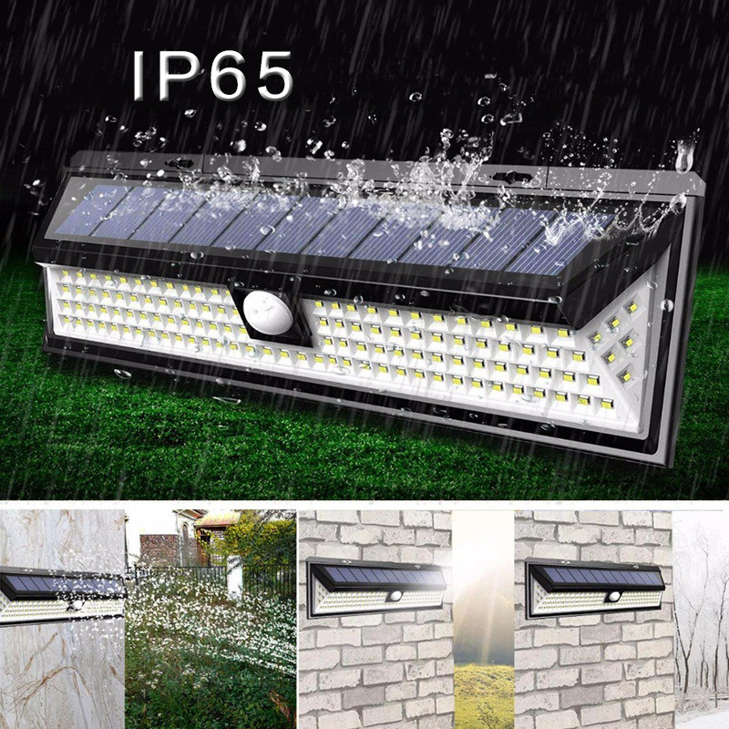 118LEDs Waterproof Solar Motion Sensor Solar Wall Lamp for Outdoor Yard Garden 118LED (warm light) solar wall light