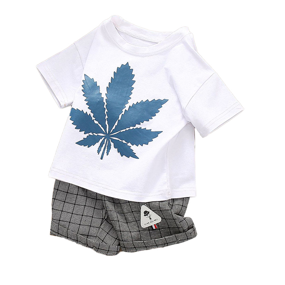 2 Pcs/set  Children's Suit Cotton Maple Leaf Pattern Short Sleeve + Plaid Shorts for 0-3 Years Old Kids white_100cm