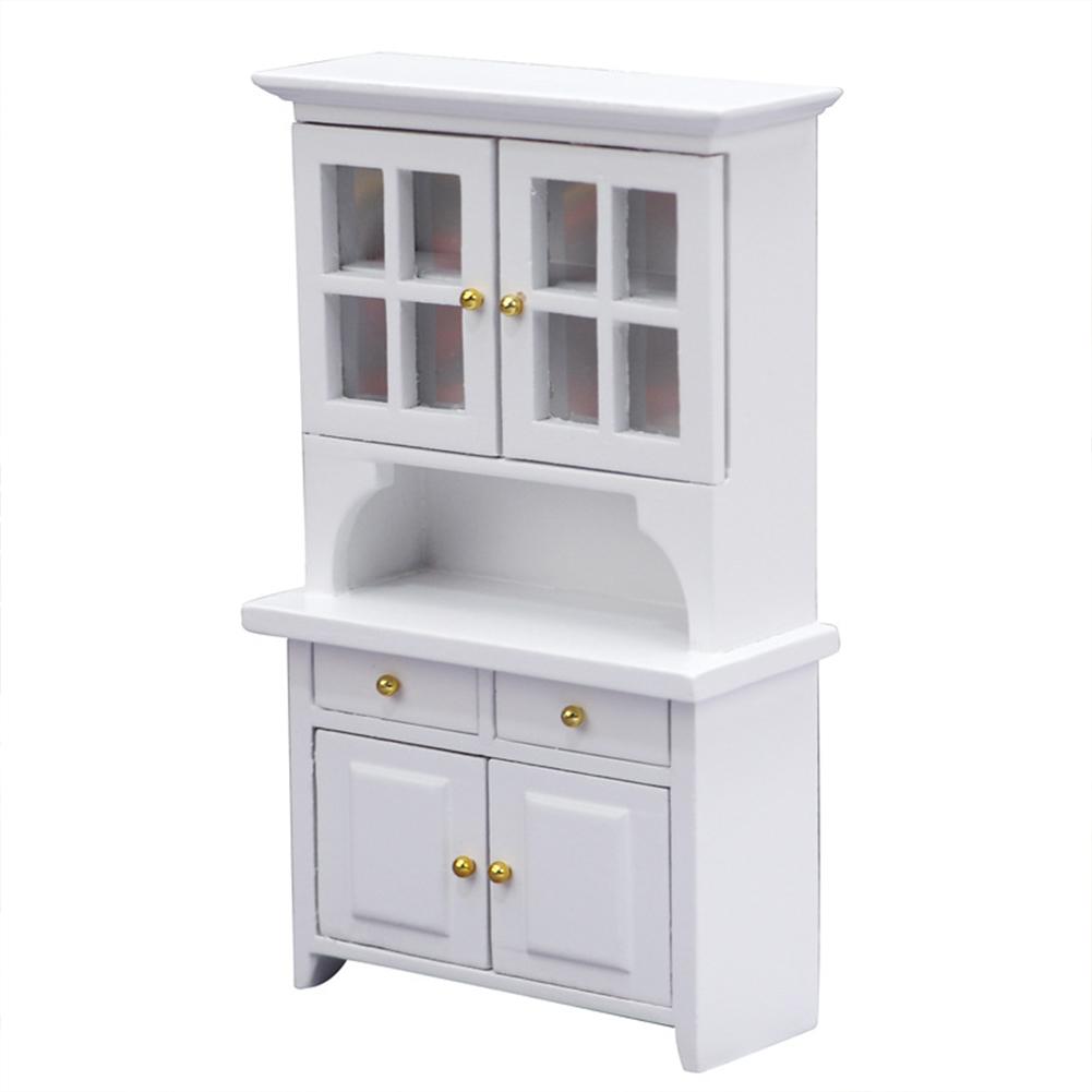 Wooden 1:12  Mini  Doll  House  Vertical  Cabinet Study Room Micro Scene Bookcase Bedroom Furniture White