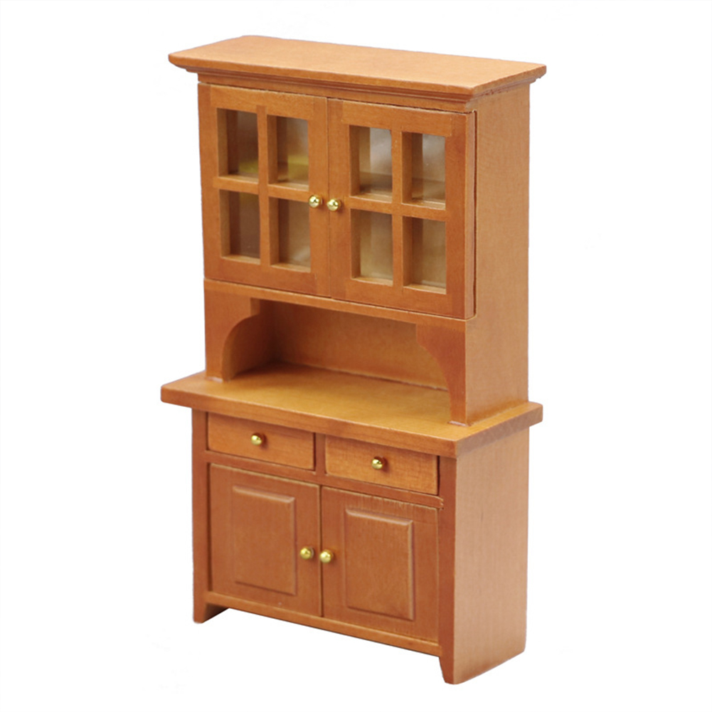 Wooden 1:12 Dollhouse Vertical Cabinet Wardrobe Mini Household Furniture Toy Brown