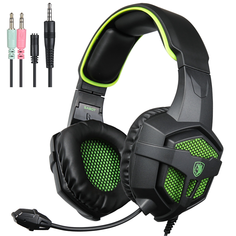 [EU Direct] 2016 SADES SA-807 Multi-Platform New Version Xbox One PS4 PC Gaming Headset Game Headphones with Microphone for Laptop Mac Tablet iPhone iPad iPod Blabk-Green