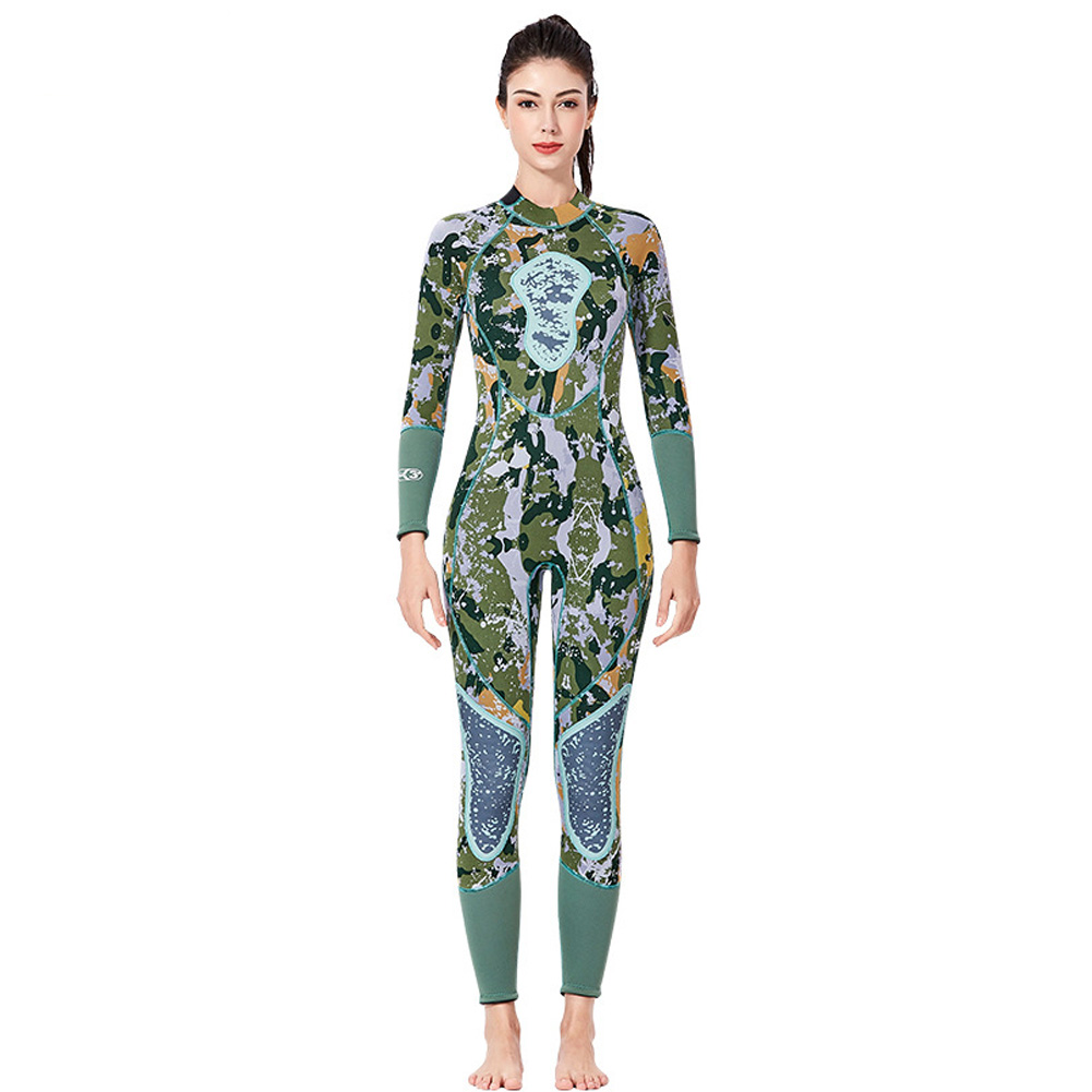 Fish Hunting  Suit 3MM Siamese Camouflage Female Warm Surfing Swimwear Female models, green camouflage_XL
